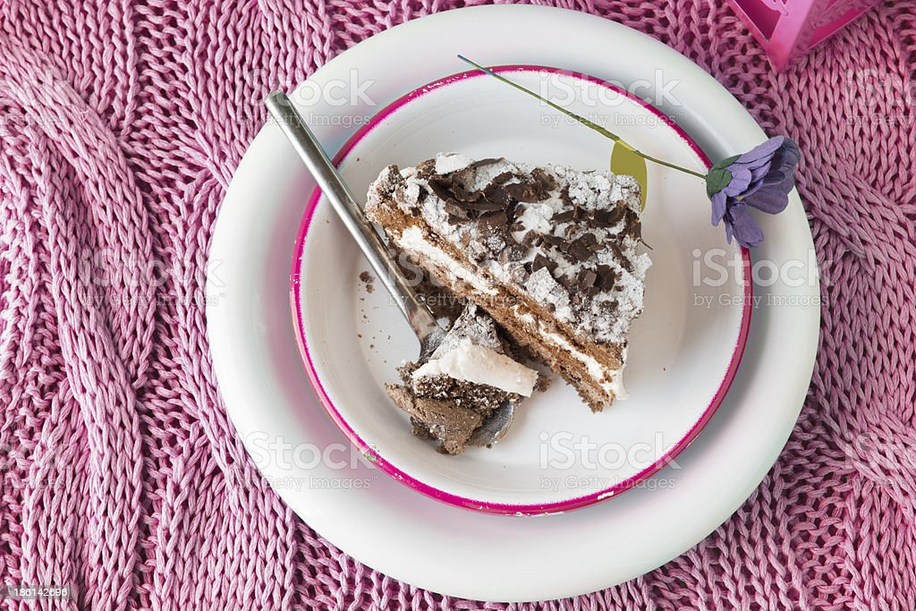 chocolate cake. musse and chantilly cream royalty-free stock photo