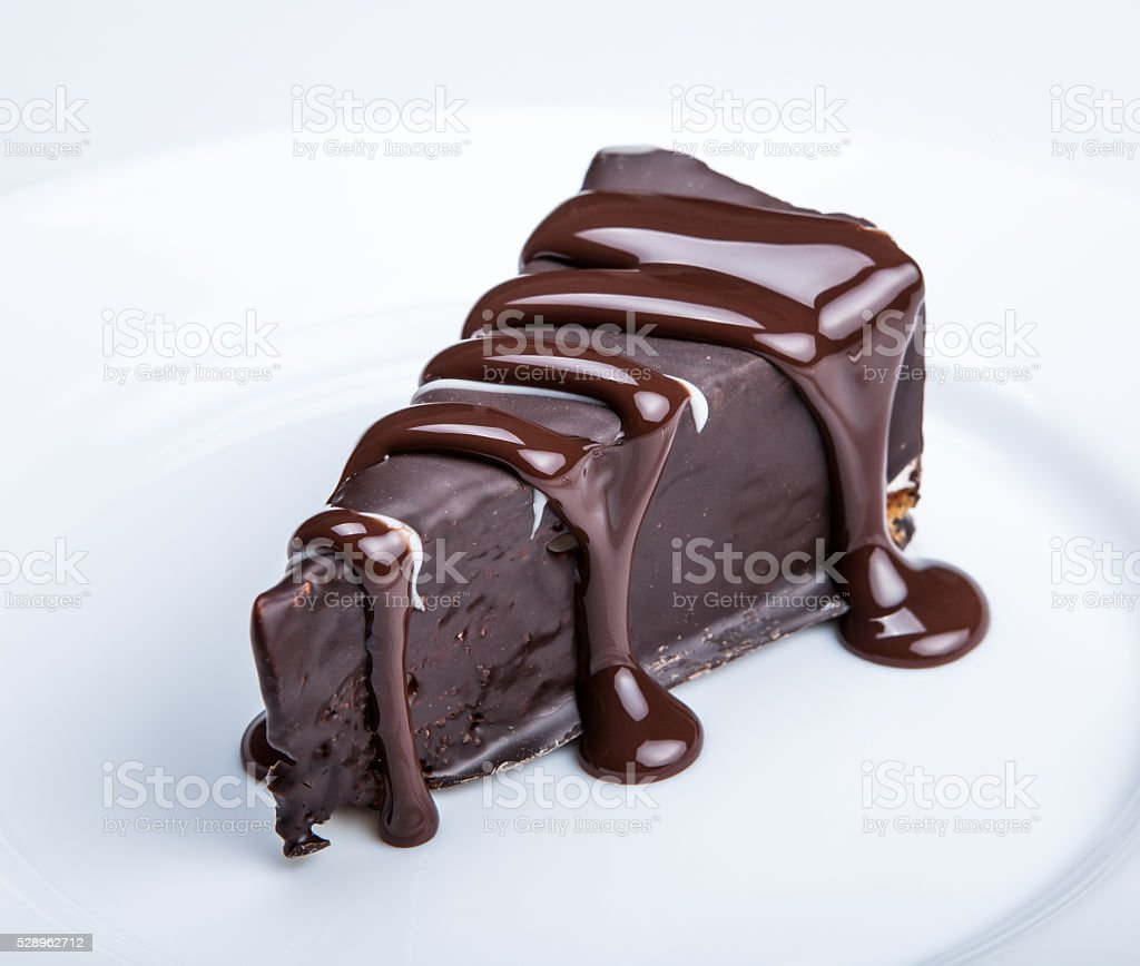 chocolate cake on a plate close up stock photo