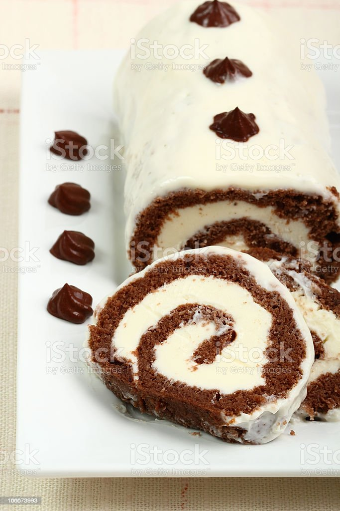 Chocolate Cake Roulade with Mascarpone Cream royalty-free stock photo