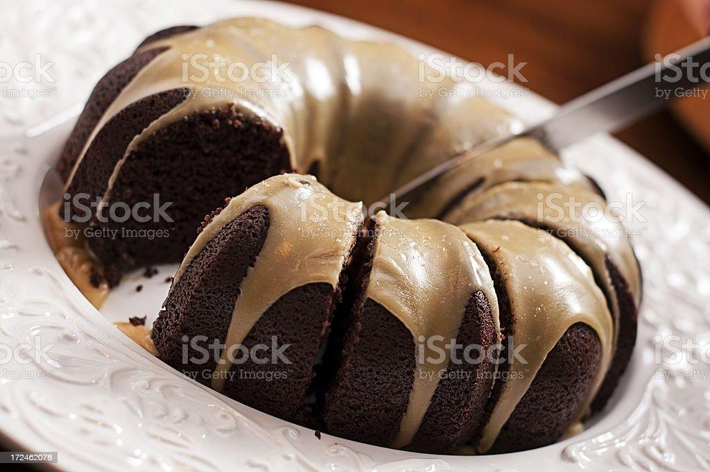 Chocolate Cake, Salted Caramel Glaze stock photo