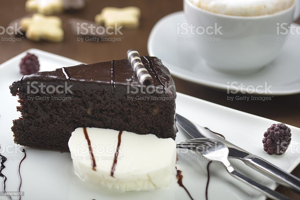 Chocolate cake served with elegant style stock photo