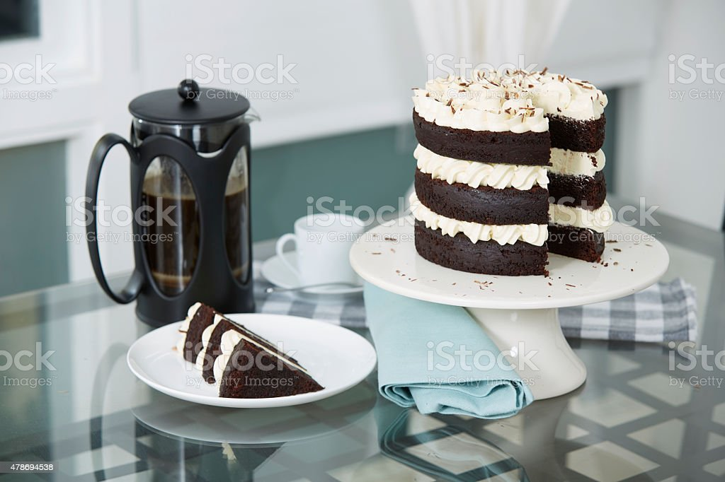 Chocolate Cake Served with Fresh Brewed Coffee stock photo