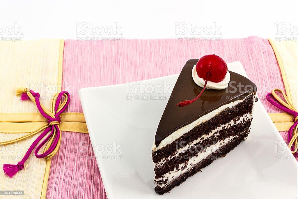 Chocolate cake slice. stock photo