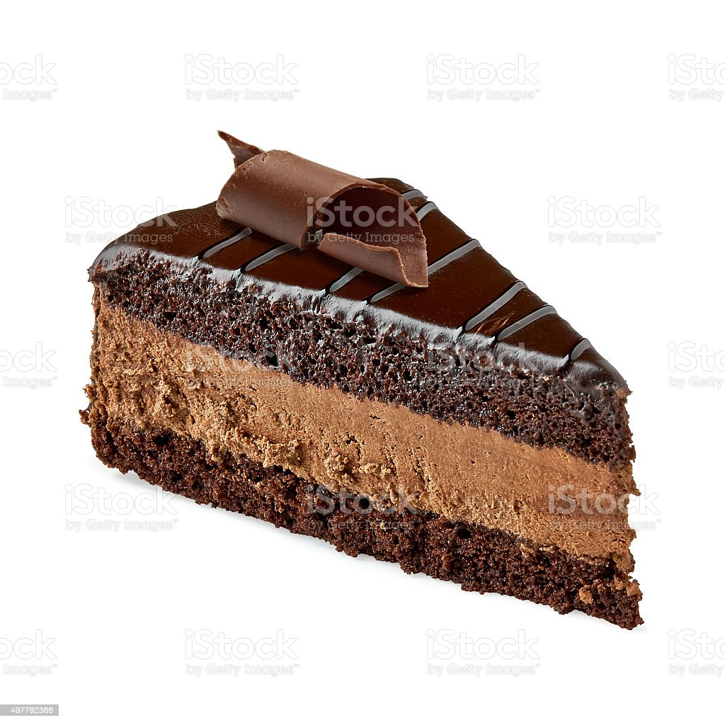 Chocolate cake slice stock photo