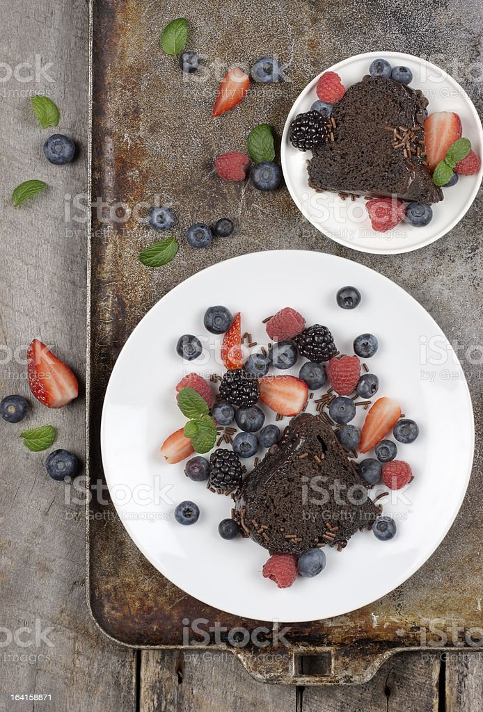 Chocolate Cake with Berries royalty-free stock photo