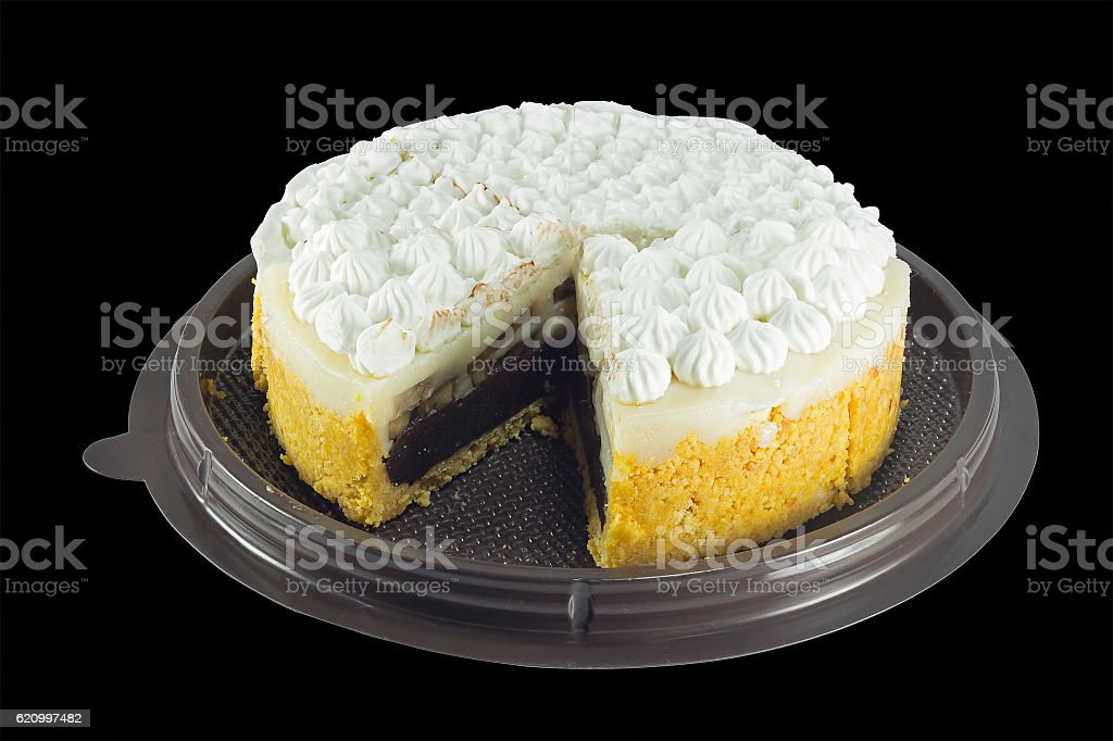 chocolate cake with biscuit and banana stuffed isolate stock photo