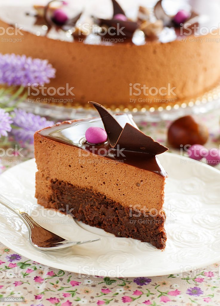 Chocolate cake with chestnut mousse brownie. stock photo