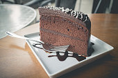 chocolate cake with chocolate syrup