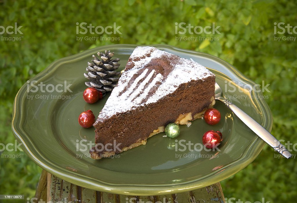 Chocolate Cake with Christmas Ornaments stock photo