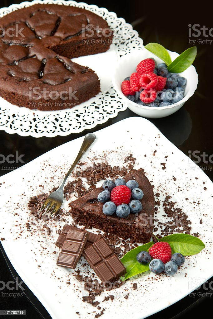 chocolate cake with fresh berry royalty-free stock photo