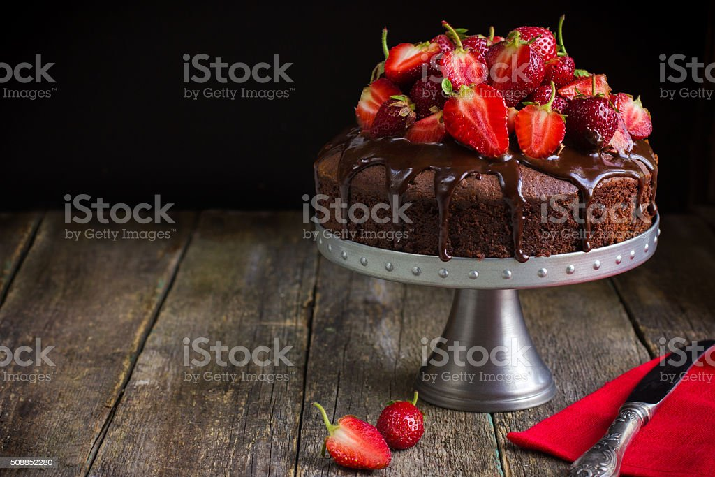 chocolate cake with  fresh strawberry stock photo