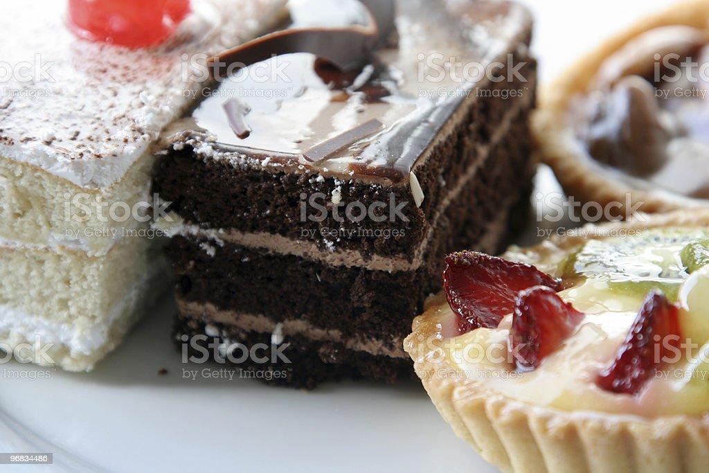 chocolate cake with fruits and walnuts tart royalty-free stock photo