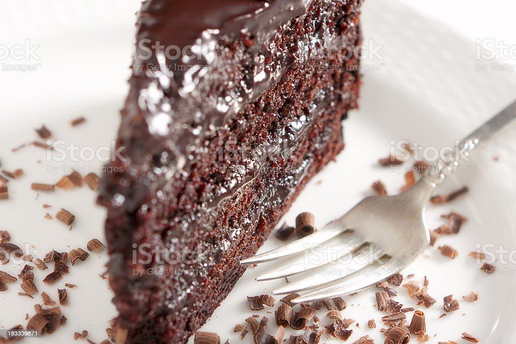 Chocolate Cake with Ganache Frosting royalty-free stock photo