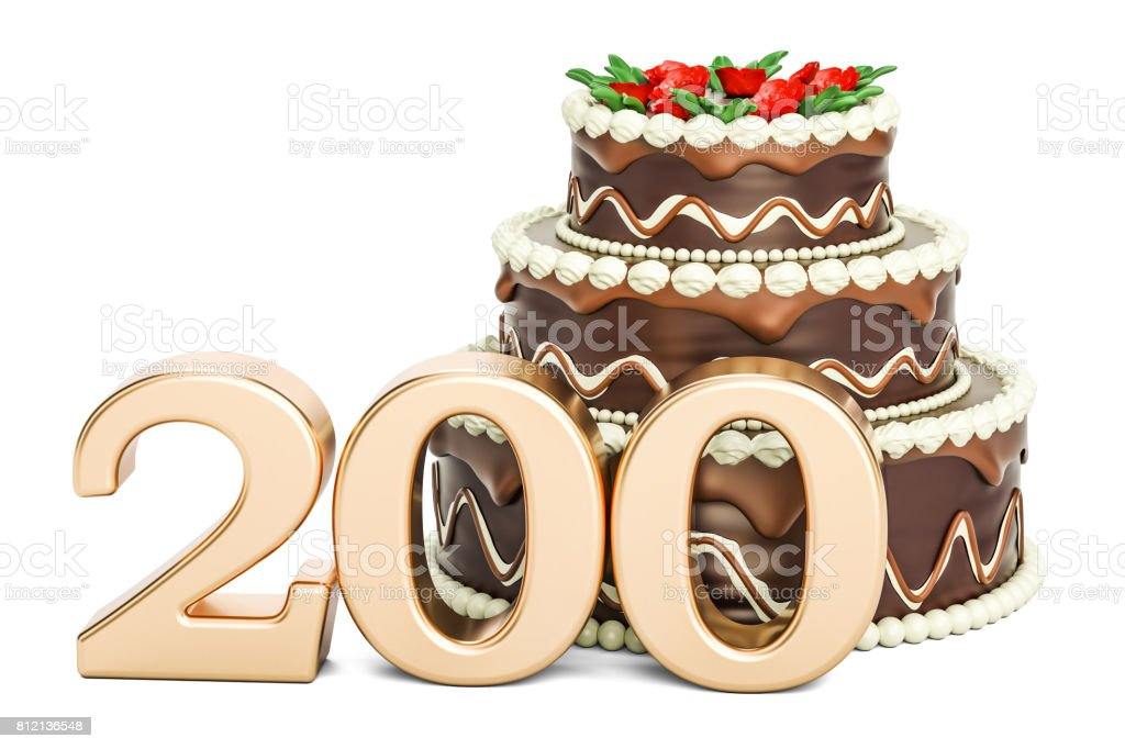 Chocolate cake with golden number 200, 3D rendering isolated on white background stock photo