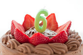 Chocolate cake with number candle