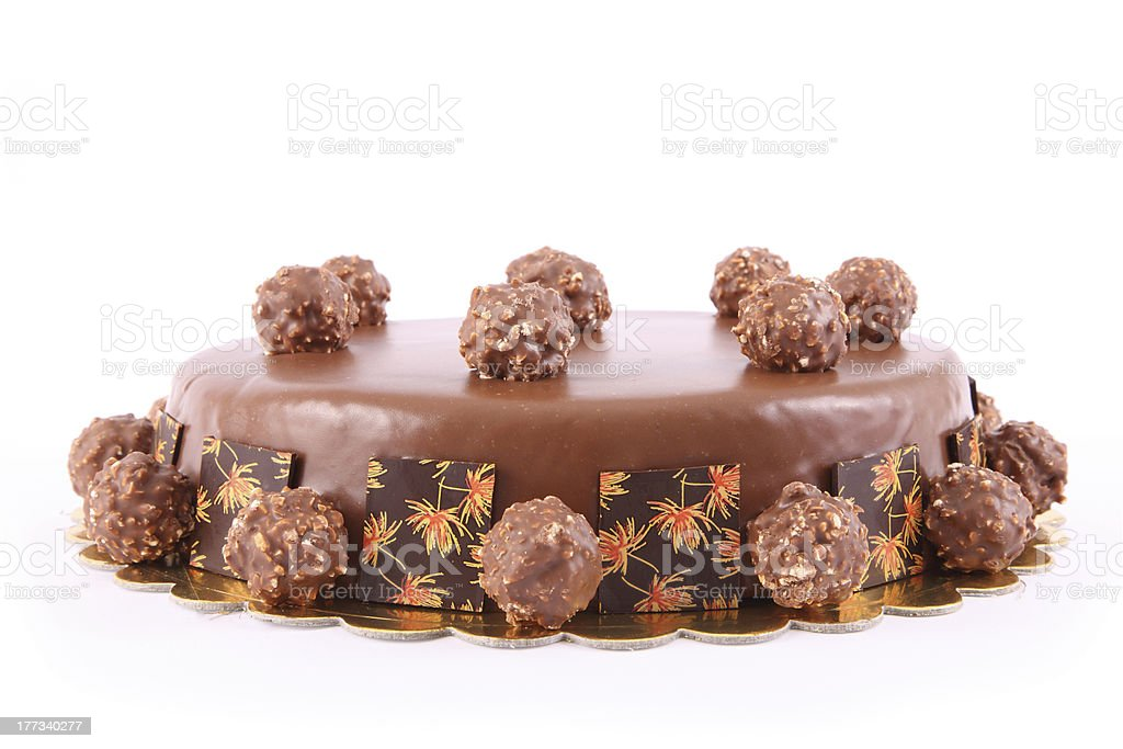 Chocolate Cake with nuts balls royalty-free stock photo