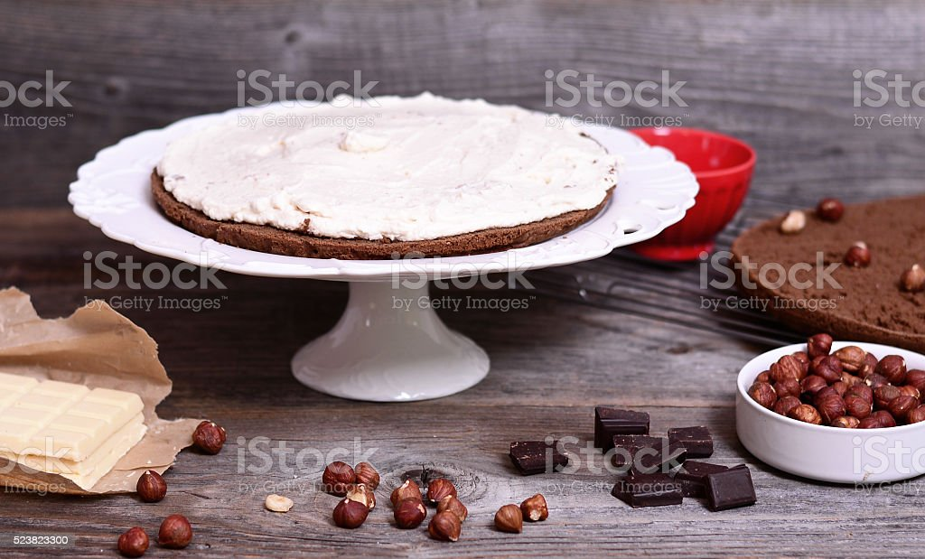 Chocolate cake with nuts stock photo