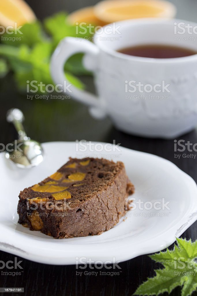 Chocolate cake with pumpkin. royalty-free stock photo
