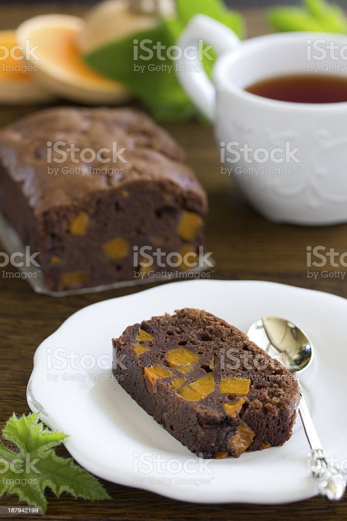 Chocolate cake with pumpkin. royalty-free stock photo