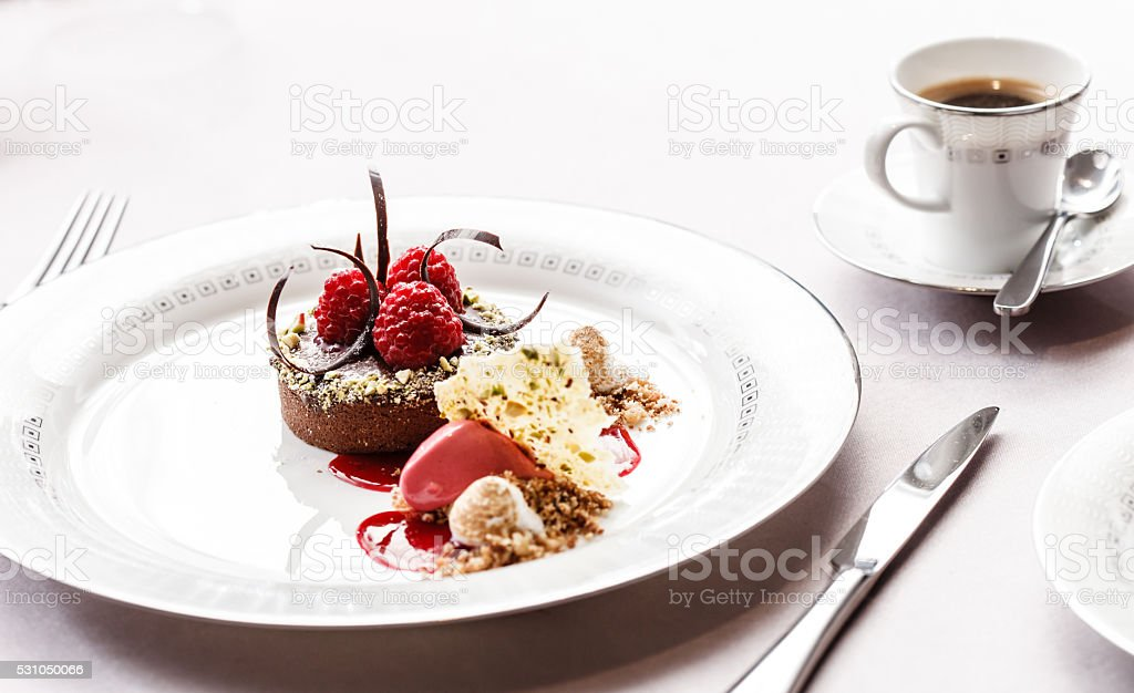chocolate cake with raspberries stock photo