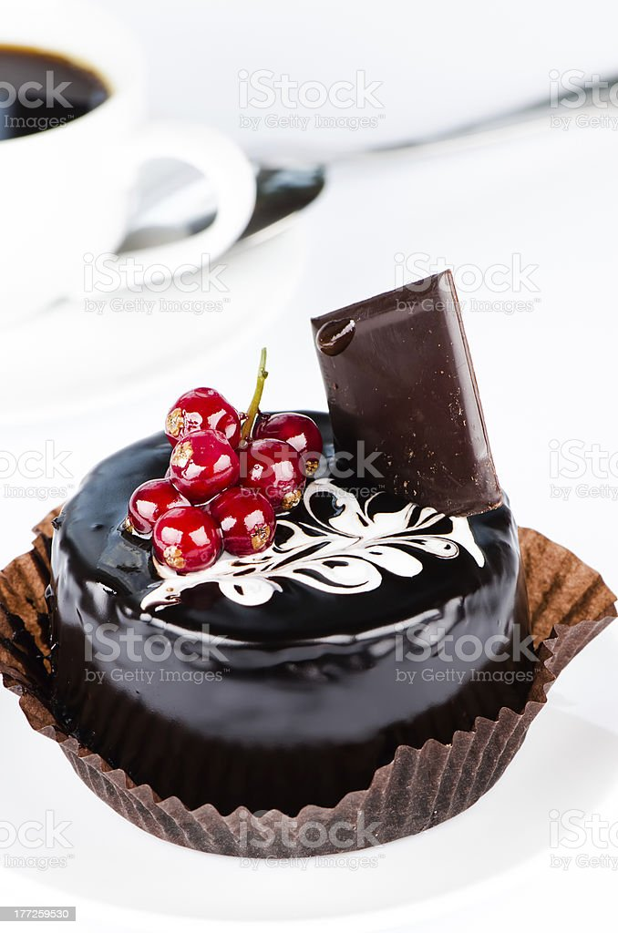 Chocolate cake with redcurrants close up royalty-free stock photo