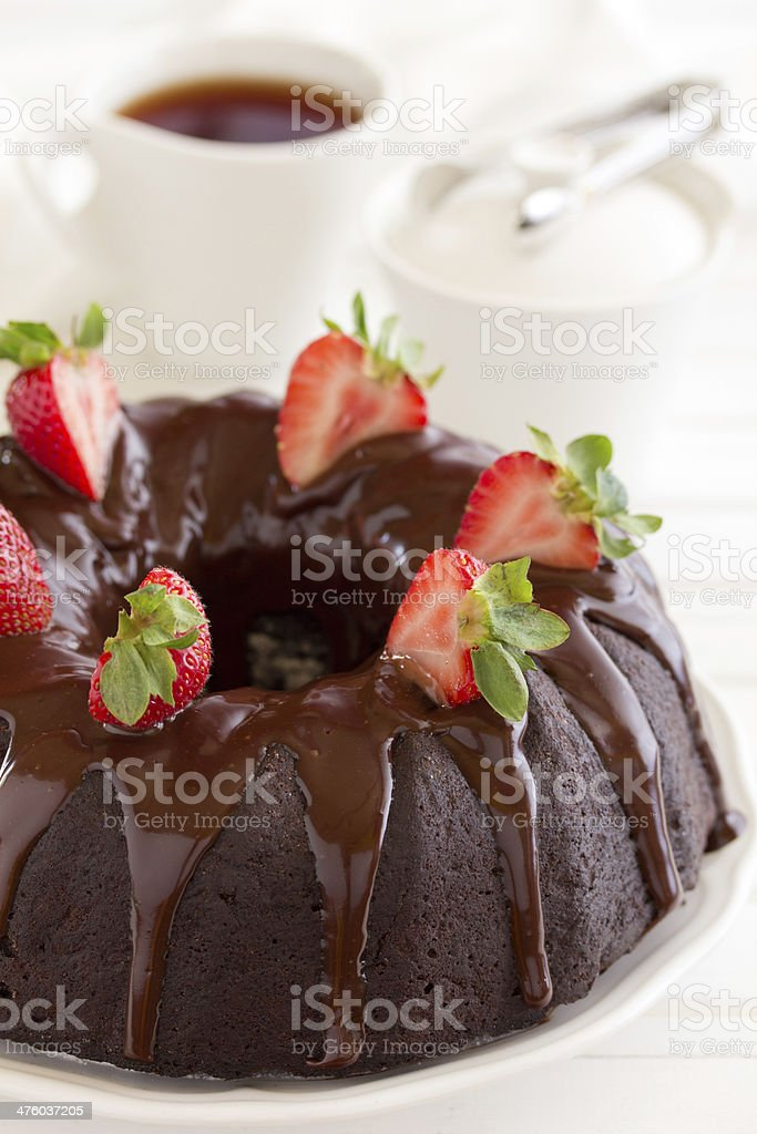 Chocolate cake with strawberries and chocolate. royalty-free stock photo