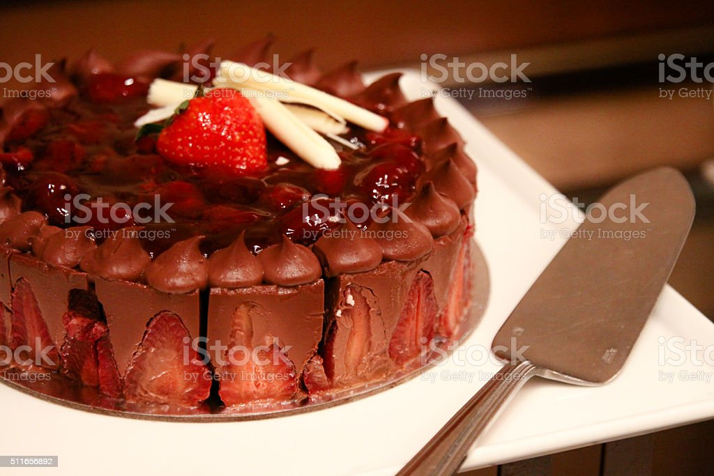 Chocolate Cake with Strawberries stock photo