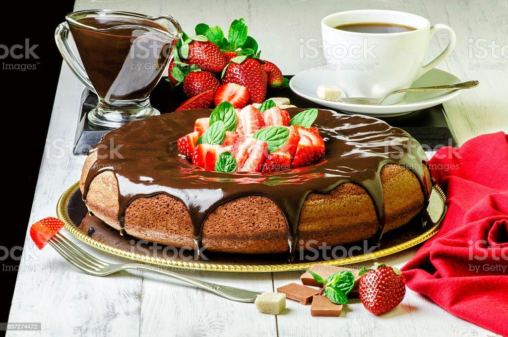 Chocolate Cake with Strawberries. stock photo