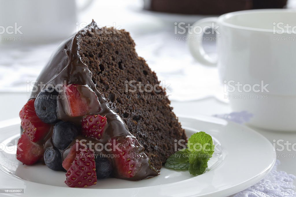 Chocolate cake with summer berries. royalty-free stock photo