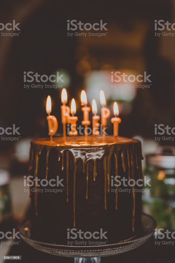 Chocolate cake with text RIP diet stock photo