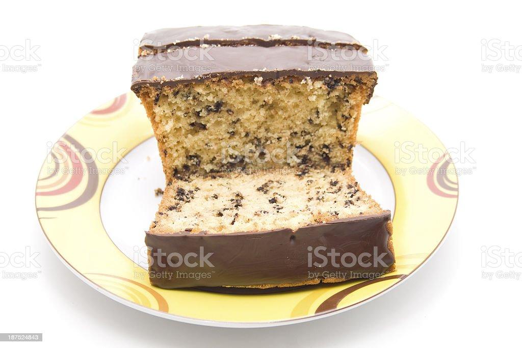 Chocolate cakes on ceramics plate stock photo