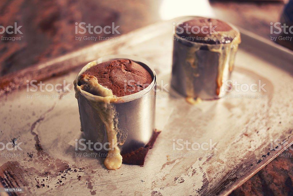 Chocolate cakes straight from the oven royalty-free stock photo