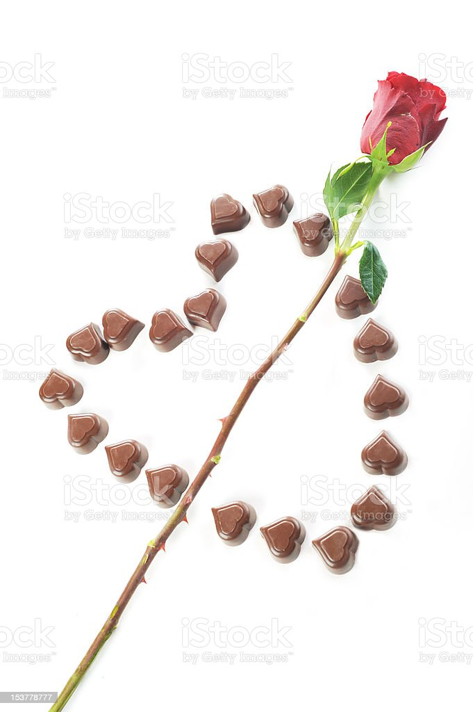 chocolate candies and rose royalty-free stock photo