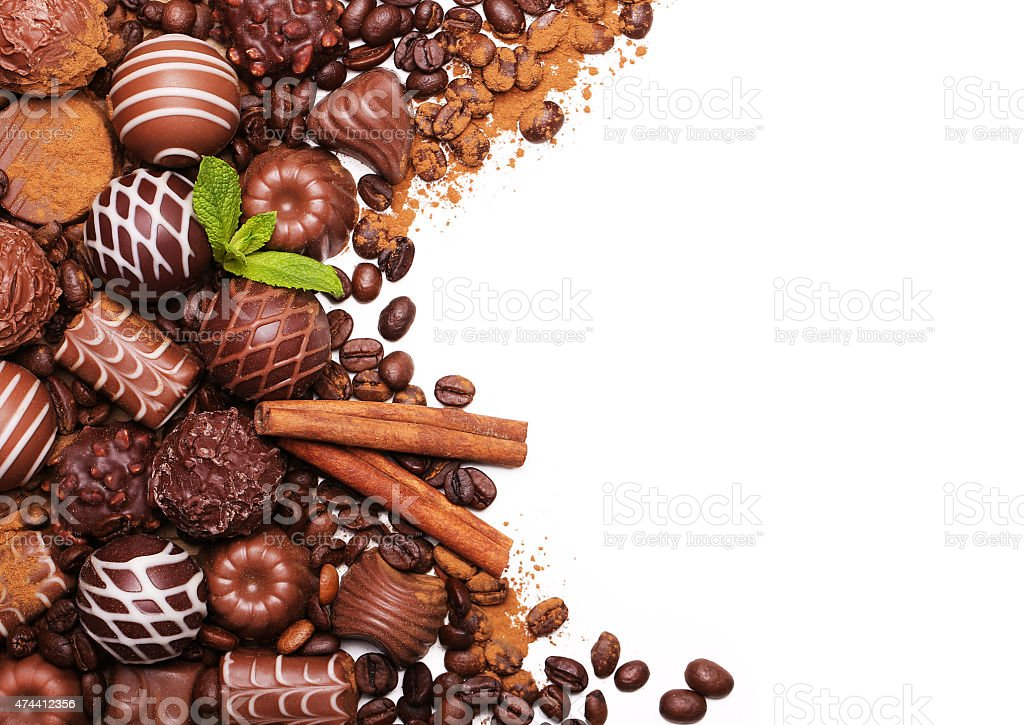 Chocolate candies. Collection of beautiful Belgian truffles isolated stock photo