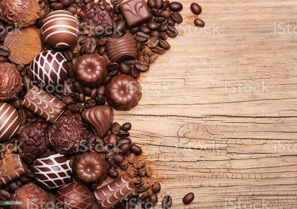 Chocolate candies. Collection of beautiful Belgian truffles stock photo
