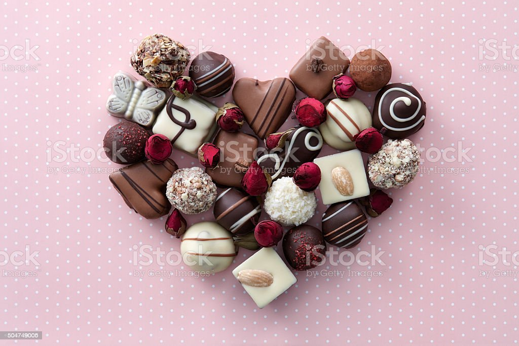 Chocolate candies heart stock photo