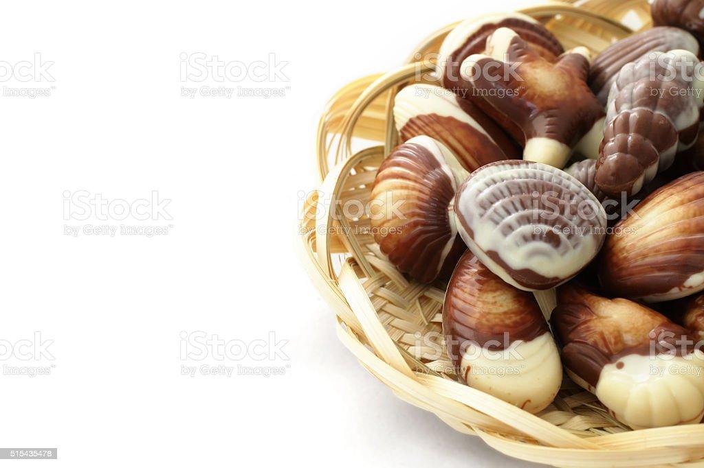 chocolate candy shaped sea shells stock photo
