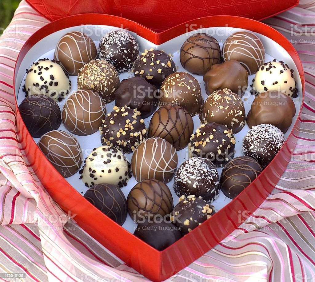 Chocolate Candy Truffles, Sweet Food & Valentine's Day & Heart Gift Box stock photo