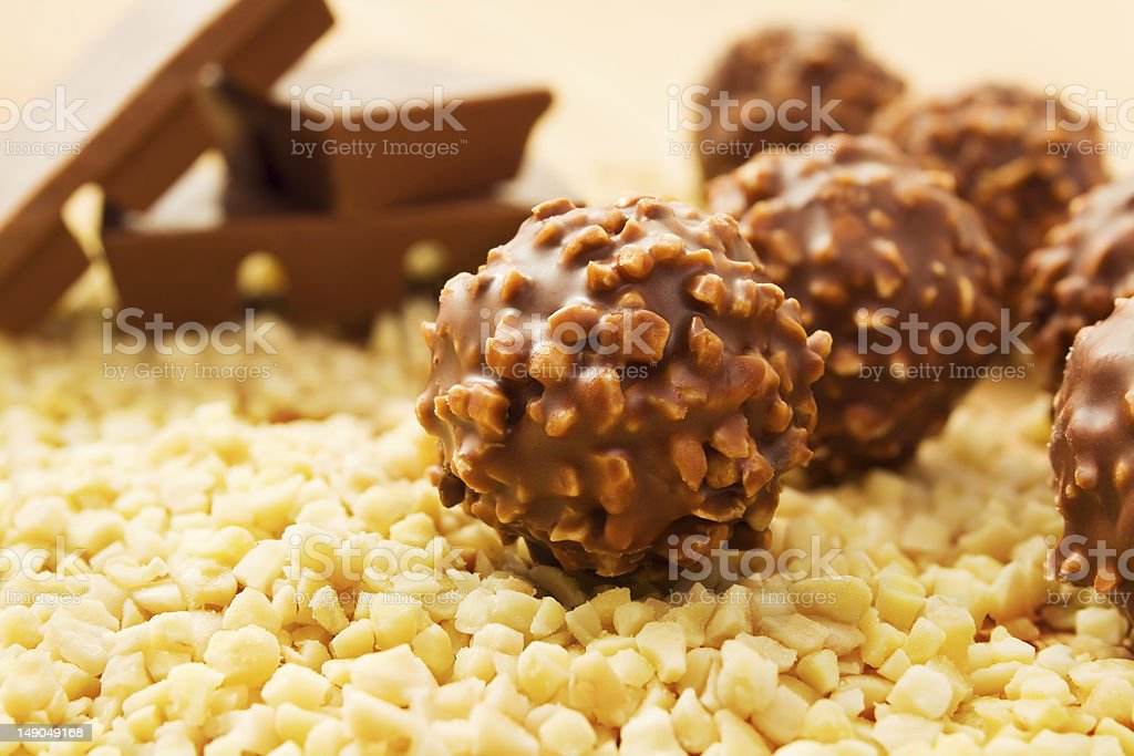 Chocolate candy with nuts stock photo