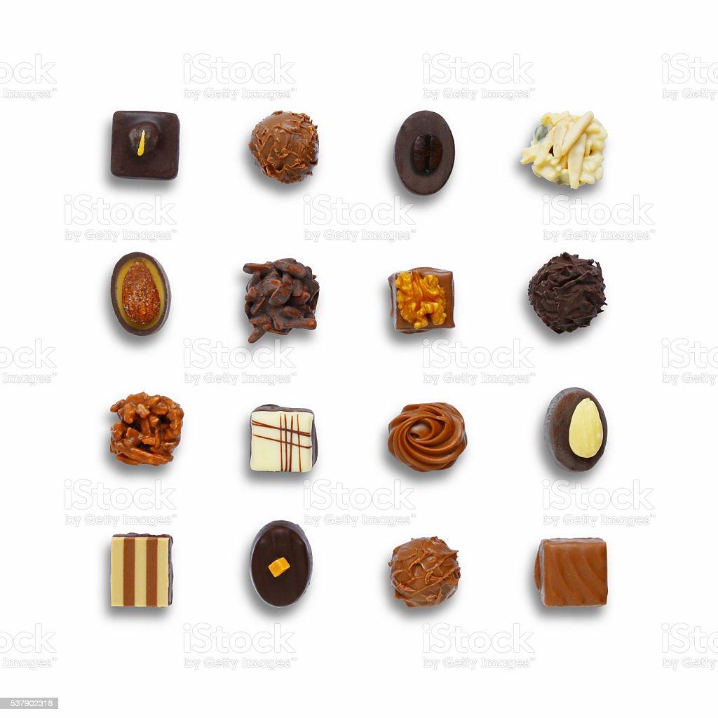 Chocolate candys set stock photo