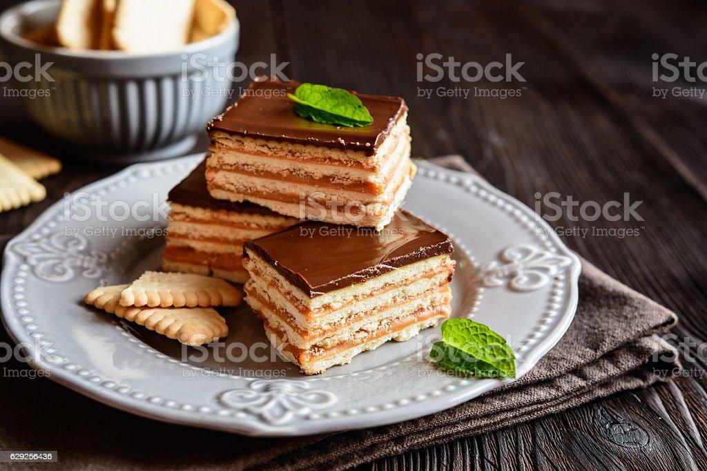Chocolate caramel cracker bars stock photo