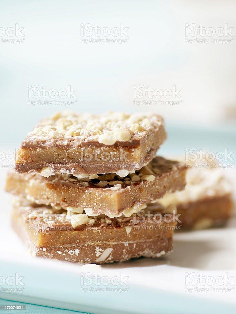 Chocolate Cashew Buttercrunch Squares stock photo