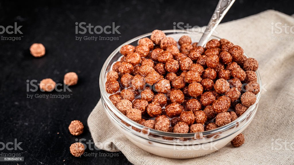Chocolate cereal balls stock photo