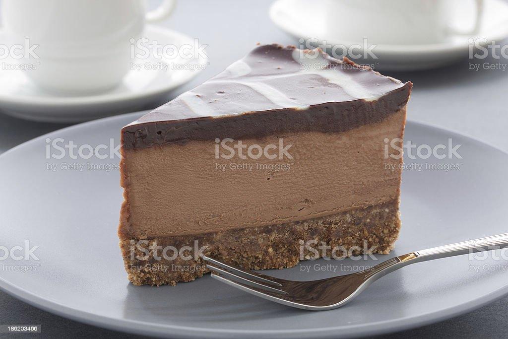Chocolate Cheesecake with three kinds of chocolate. stock photo