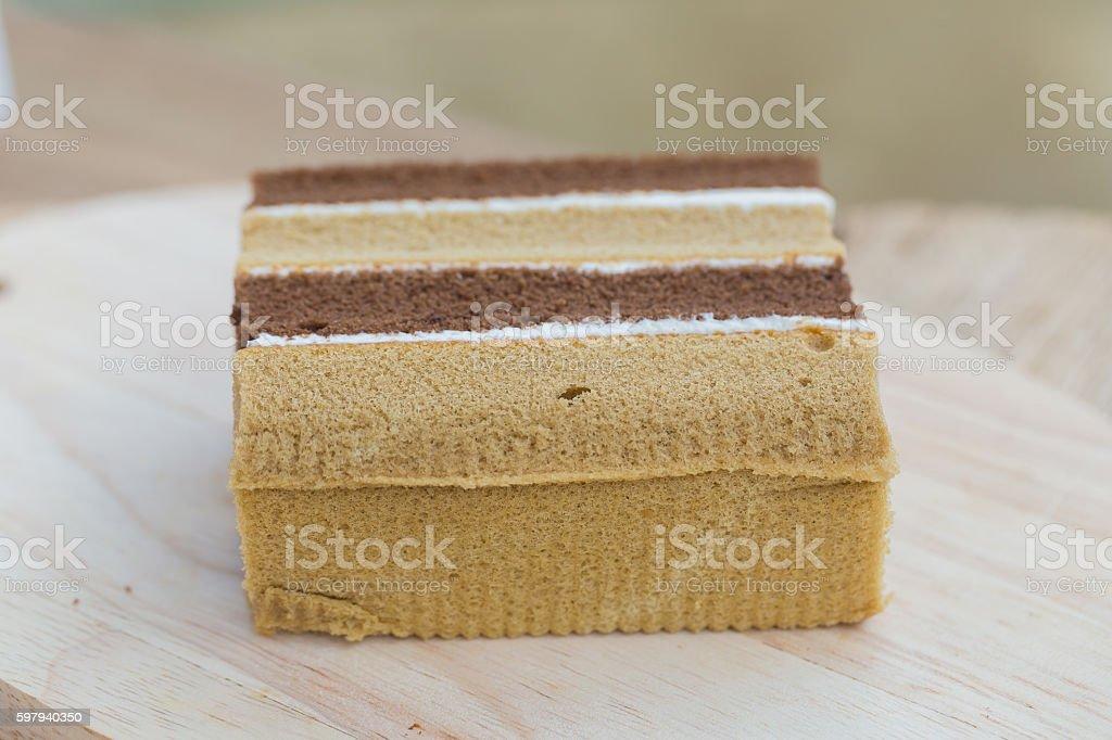 chocolate chiffon cake on wooden stock photo