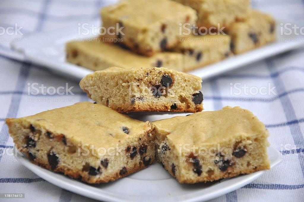 Chocolate Chip Blondies stock photo