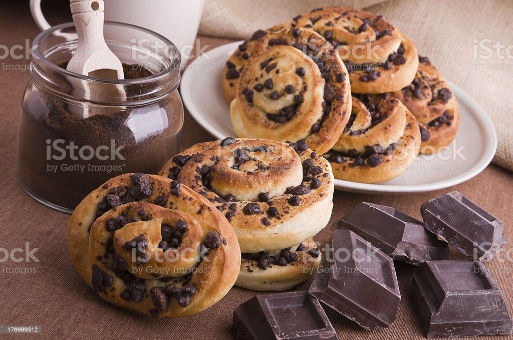 Chocolate chip brioche buns. royalty-free stock photo
