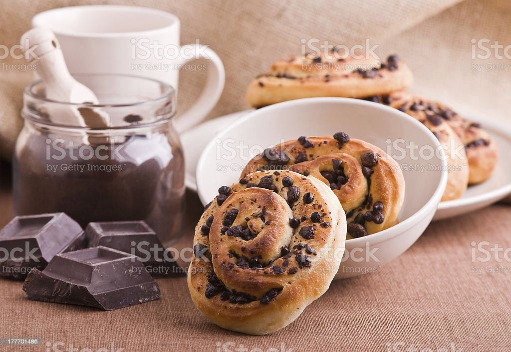 Chocolate chip brioche buns. royalty-free stock photo