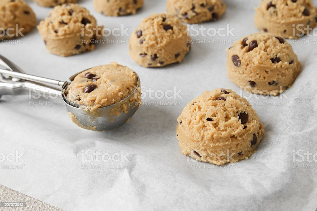 chocolate chip coconut cookies dough, selective focus stock photo