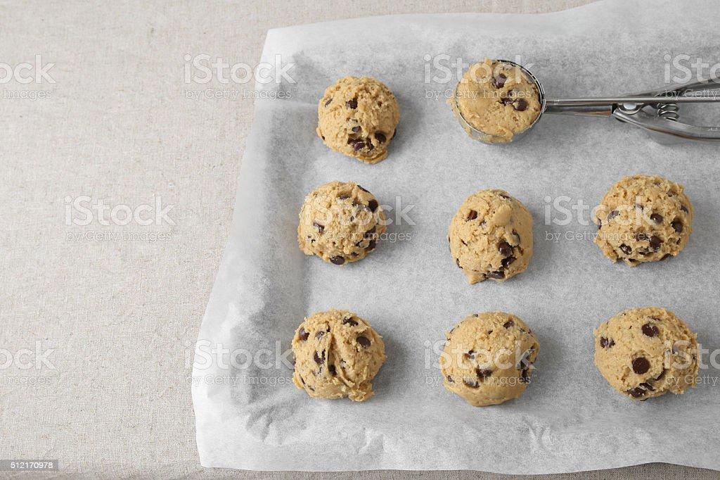 chocolate chip coconut cookies dough, selective focus stock photo